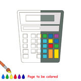 Kid game to be colored by example half. Calculator, the coloring book to educate preschool kids with easy gaming level, the kid educational game to color the royalty free illustration