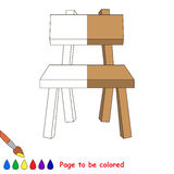 Kid game to be colored by example half. Chair, the coloring book to educate preschool kids with easy gaming level, the kid educational game to color the vector illustration