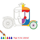 Kid game to be colored by example half. Colorful Rainbow Princess Chariot, the coloring book to educate preschool kids with easy gaming level, the kid royalty free illustration