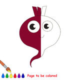 Kid game to be colored by example half. Cute Beet, the coloring book to educate preschool kids with easy gaming level, the kid educational game to color the vector illustration