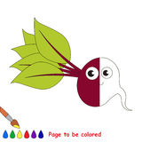 Kid game to be colored by example half. Cute Beetroot, the coloring book to educate preschool kids with easy gaming level, the kid educational game to color the stock illustration