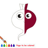 Kid game to be colored by example half. Cute Beetroot, the coloring book to educate preschool kids with easy gaming level, the kid educational game to color the royalty free illustration