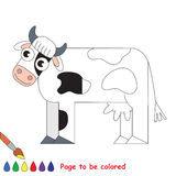 Kid game to be colored by example half. Farm Cow, the coloring book to educate preschool kids with easy gaming level, the kid educational game to color the stock illustration