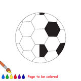 Kid game to be colored by example half. Football Ball, the coloring book to educate preschool kids with easy gaming level, the kid educational game to color the vector illustration