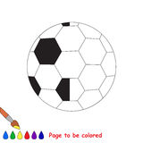 Kid game to be colored by example half. Football Ball, the coloring book to educate preschool kids with easy gaming level, the kid educational game to color the stock illustration