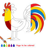 Kid game to be colored by example half. Funny Beautiful Cock, the coloring book to educate preschool kids with easy gaming level, the kid educational game to royalty free illustration