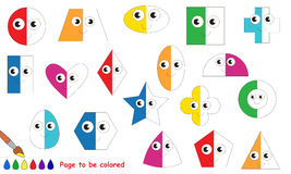 Kid game to be colored by example half. Funny geometric shapes set to be half colored, the coloring book to educate preschool kids with easy game level. The kid stock illustration