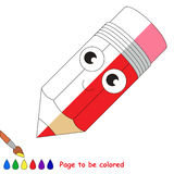 Kid game to be colored by example half. Funny Pencil, the coloring book to educate preschool kids with easy gaming level, the kid educational game to color the vector illustration