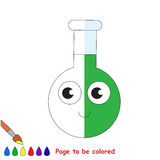 Kid game to be colored by example half. Glass Vial Tube with Green Liquid, the coloring book to educate preschool kids with easy gaming level, the kid Royalty Free Stock Images