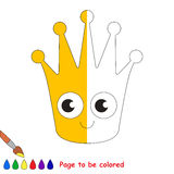 Kid game to be colored by example half. Gold Crown, the coloring book to educate preschool kids with easy gaming level, the kid educational game to color the stock illustration