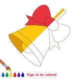 Kid game to be colored by example half. Golden Bell, the coloring book to educate preschool kids with easy gaming level, the kid educational game to color the stock illustration