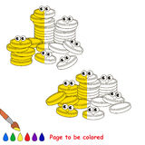 Kid game to be colored by example half. A Lot af Gold Cash Coins, the coloring book to educate preschool kids with easy gaming level, the kid educational game vector illustration