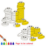 Kid game to be colored by example half. A Lot af Gold Cash Coins, the coloring book to educate preschool kids with easy gaming level, the kid educational game royalty free illustration