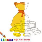 Kid game to be colored by example half. A Lot of Money, the Bagful with Gold Coins, the coloring book to educate preschool kids with easy gaming level, the kid royalty free illustration