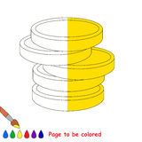 Kid game to be colored by example half. A lot of Money, gold coins, the coloring book to educate preschool kids with easy gaming level, the kid educational game vector illustration