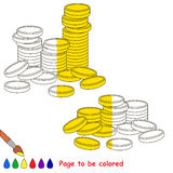 Kid game to be colored by example half. Stock Images