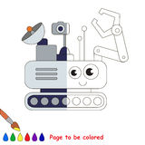 Kid game to be colored by example half. Mars Rover, the coloring book to educate preschool kids with easy gaming level, the kid educational game to color the stock illustration