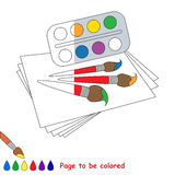 Kid game to be colored by example half. Stock Image