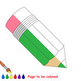 Kid game to be colored by example half. The Pencil, the coloring book to educate preschool kids with easy gaming level, the kid educational game to color the stock illustration