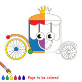 Kid game to be colored by example half. Rainbow Chariot, the coloring book to educate preschool kids with easy gaming level, the kid educational game to color stock illustration
