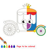 Kid game to be colored by example half. Rainbow Chariot, the coloring book to educate preschool kids with easy gaming level, the kid educational game to color royalty free illustration