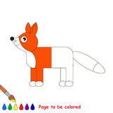Kid game to be colored by example half. Red Fox, the coloring book to educate preschool kids with easy gaming level, the kid educational game to color the royalty free illustration