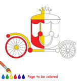 Kid game to be colored by example half. The Red Prinsess Chariot with Gold Crown. Dot to dot educational game for kids, color the colorless half of picture royalty free illustration