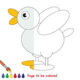 Kid game to be colored by example half. Small White Duck, the coloring book to educate preschool kids with easy gaming level, the kid educational game to color stock illustration