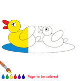 Kid game to be colored by example half. Two small yellow Ducks, the coloring book to educate preschool kids with easy gaming level, the kid educational game to vector illustration