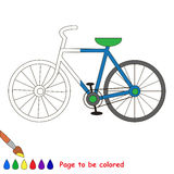 Kid game to be colored by example half. Two-wheeled bicycle., the coloring book to educate preschool kids with easy gaming level, the kid educational game to royalty free illustration