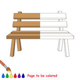 Kid game to be colored by example half. The Wooden Bench, the coloring book to educate preschool kids with easy gaming level, the kid educational game to color royalty free illustration