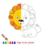 Kid game to be colored by example half. The Yellow Lion, the coloring book to educate preschool kids with easy gaming level, the kid educational game to color stock illustration