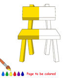 Kid game to be colored by example half. Yellow Wooden Chair, the coloring book to educate preschool kids with easy gaming level, the kid educational game to vector illustration