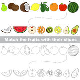 The kid game to find relevant pair of objects. Fruit set to find the appropriate slice, to compare and connect objects and their relevant pairs, the matching Royalty Free Stock Images