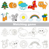 The kid game to find relevant pair of objects. Funny set to find the appropriate couple of objects, to compare and connect objects and their relevant pairs, the Stock Photography