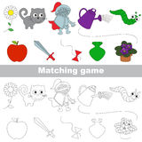 The kid game to find relevant pair of objects. Toys set to find the appropriate couple of objects, to compare and connect objects and their relevant pairs, the Stock Images