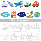The kid game to find relevant pair of objects. Transport set to find the appropriate couple of objects, to compare and connect objects and their relevant pairs Royalty Free Stock Photo