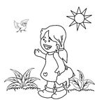 Kid in the garden coloring page Royalty Free Stock Photo