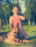 Kid and German Shepherd Royalty Free Stock Photo