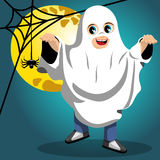 Kid ghost halloween costume full moon Royalty Free Stock Images