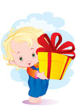 The kid with a gift Stock Photos