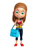Kid girl with Apple and Schoolbag Royalty Free Stock Photos