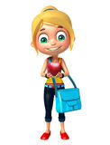 Kid girl with Apple and Schoolbag Stock Image