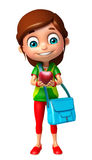 Kid girl with Apple and Schoolbag Stock Photos