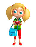 Kid girl with Apple and Schoolbag Royalty Free Stock Photography