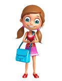 Kid girl with Apple and Schoolbag Royalty Free Stock Photo