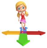 Kid girl with Arrow Stock Photo