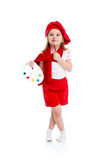 Kid girl in artist costume royalty free stock photo