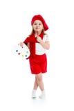 Kid girl in artist costume Royalty Free Stock Photo