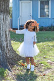 Kid girl with autumn leaf magic wand outdoor Stock Images